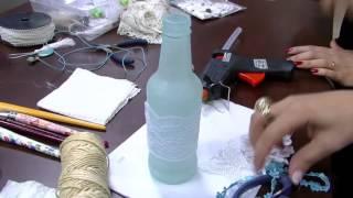 Garrafa de vidro com decoração Shabby Chic PT2   Camila Claro de Carvalho Mulher com   07 10 2015