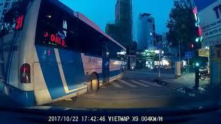 Xe Buýt số 91 chạy ngược chiều, lấn tuyến trái, quẹo phải và cái kết không ngờ