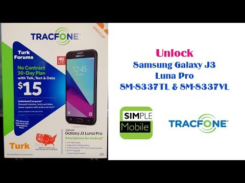 SIM Unlock Simple Mobile Samsung Galaxy J3 Luna Pro S337TL For Use