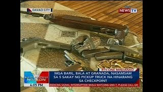 BP: Mga baril, bala at granada, nasamsam sa 5 sakay ng pickup truck na hinarang sa checkpoint