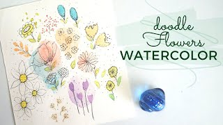 Easy Watercolor Doodle Flowers For Beginners    Greetings Card Watercolor    Easy Doodle Patterns