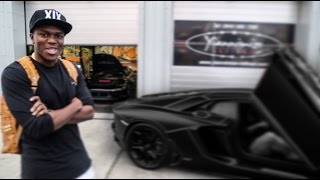 KSI Lamborghini Aventador wrapped Satin Black with Tron Lines
