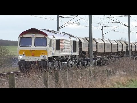 Class 66 locomotives in nine different liveries