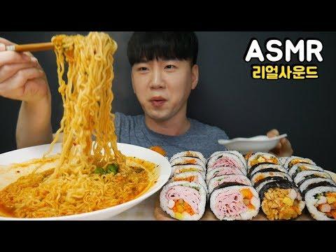 신라면 베이컨김밥 치즈김밥 Shin ramen & Gimbap(rice roll) 리얼사운드 먹방 ENG Mukbang ASMR DoNam 도남이먹방