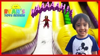 Ryan plays on HUGE Indoor playground GIANT INFLATABLE SLIDES