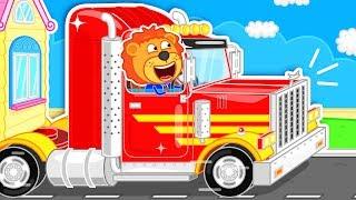 Lion Family 🚚 Red Supertruck vs Supercar | Cartoon for Kids