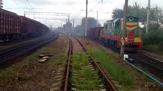 2ТЕ10М—2608+2М62У—217 ЧМЕ3—1986 з вантажними поїздами/2TE10M-2608+2M62U-217 CME3-1986 with cargo tra