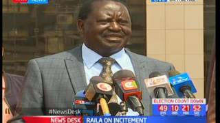 Raila Odinga reacts to Jubilee's incitement accusations