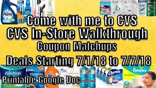 Come with me to CVS/CVS In Store Walkthrough Coupon Matchups Deals Starting 7/1-7/7/18
