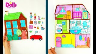 PAPER DOLLSHOUSE DIY TUTORIAL PAPERCRAFT FOR KIDS