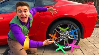 Mr. Joe on Corvette in Race VS Boomerangs in Wheels Car VS Yellow Man Started Funny Race for Kids