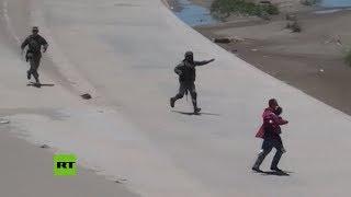 Mexican National Guard detains migrants at US border