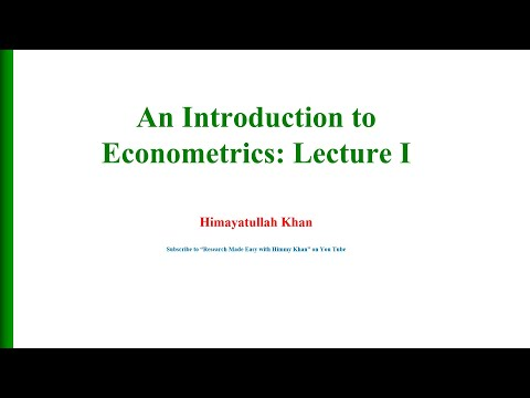110 #Introduction to #Econometrics: Lecture 1