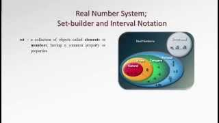 1.1, 1.2 Real Number System; Set-builder and Interval Notation