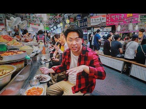 Корейский Рынок Уличная Еда в Сеуле. Рынок Гвангянг