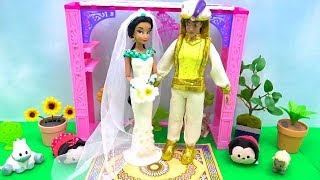 Play-Doh Disney Princess Wedding Dress Up Aladdin and Jasmine Makeup Best Learn with DIY