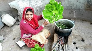 Indian Woman Cooking Palak Curry💜Village Life of India/Punjab💜Indian Rural life💜Villager life