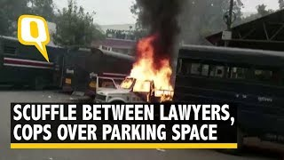 Lawyers, Cops Clash At Tis Hazari Court; Vehicles Set Ablaze Over Parking Space