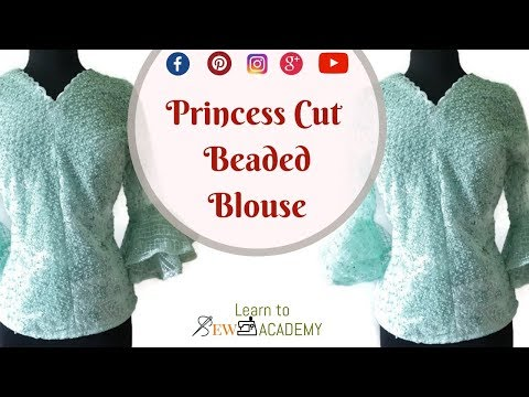 Princess Cut Blouse Cutting | Beautiful Beaded Lace Top with Bell Sleeves - Part 1