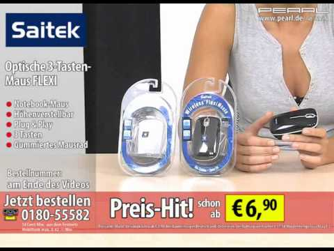 Saitek optische 3-Tasten-Maus FLEXI, 800dpi mit ausziehbarem Kabel