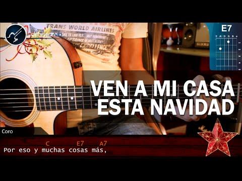 """Como tocar el Villancico  """"Ven a mi Casa Esta Navidad"""" En Guitarra (HD) Tutorial - christianvib"""
