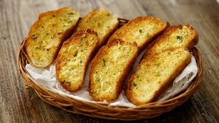 Garlic Bread Recipe - TWO WAYS Tawa & Oven in Cafe Style - CookingShooking
