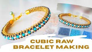 Kristalli Cubic Raw Bileklik Yapımı || Cubic Raw Bracelet Making || Beaded Bracelet #DIY #Tutorial
