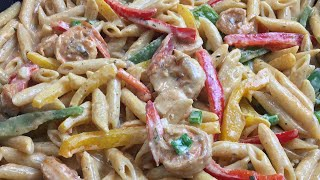 HOW TO MAKE RASTA PASTA WITH SHIRMP | Rasta Pasta Recipe | Jamaican Food