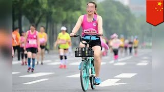 Women busted riding bikes in China half-marathon - TomoNews