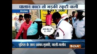 Woman misbehaves with traffic cops in Hyderabad