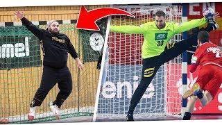 FUßBALLTORWART ALS HANDBALLTORWART | Meti im Tor beim HANDBALL ft Profis & mehr! PMTV
