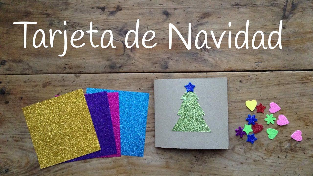 Tarjetas de Navidad para niños fáciles con un árbol de Navidad de purpurina