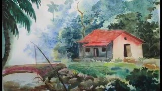 How to Draw a House Landscape in Watercolor   Episode-2