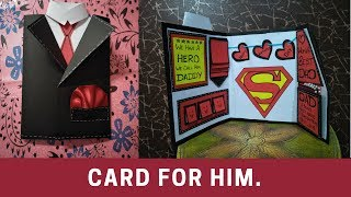 how to make card for fathers day | how to make suit tuxedo card/handmade  card for fathers day