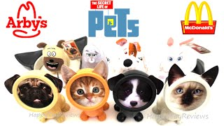 2016 ARBY'S PET SHOP KIDS MEAL TOYS V McDONALD'S THE SECRET LIFE OF PETS MOVIE HAPPY MEAL TOYS SET 7