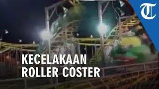 Video Wahana Roller Coaster Mini 'Pasar Malam' Terbang Keluar Trek, Tiga Orang Terluka