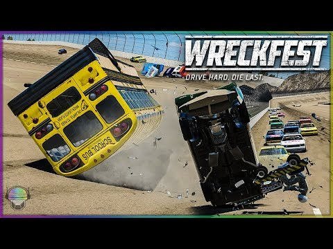 COMPLETE MADNESS AT TALLADEGA! | Wreckfest | NASCAR Legends - Buses - Lawn Mowers