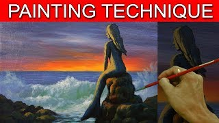 Acrylic Seascape Painting Tutorial Mermaid Statue in Step by Step Basic Lesson by JM Lisondra