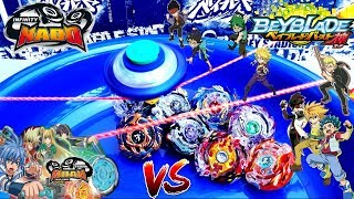 INFINITY NADO VS BEYBLADE BURST GOD EVOLUTION - EPIC DIFFERENT SPINNING TOP BATTLE!!