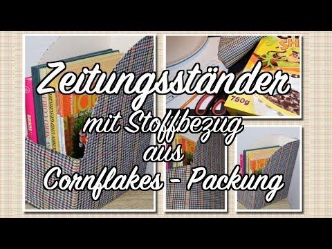 Zeitungsständer aus Cornflakes - Packung - Stoffbezug - DIY & Upcycling - Anleitung
