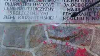 Mycie pomnika Armii Czerwonej w Krośnie pobrudzonego farbą