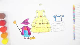 How To Draw Dresses Of Princess And Coloring #Disney Girl Colors For Kids