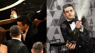 Rami Malek Falls Off Oscar Stage After Accepting Award, Parties Nonetheless