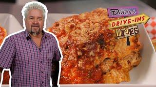 Guy Fieri Eats JUMBO Lasagna On #DDD   Food Network