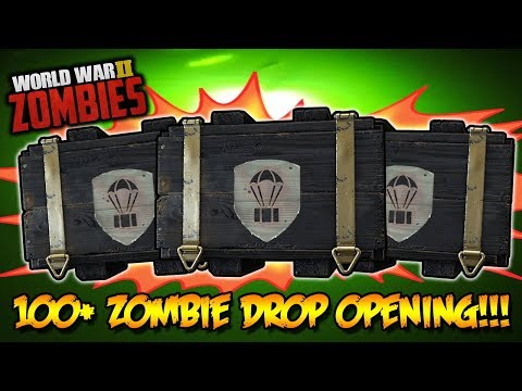 100+ ZOMBIES SUPPLY DROP CRATE OPENING!!! (Call of Duty WW2 Zombies)