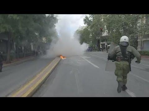 Ένταση στη μαθητική πορεία στο κέντρο της Αθήνας