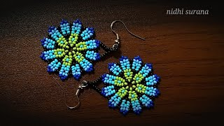 ⚜️ Beautiful Huichol Earrings    How To Make Seed Bead Earrings/ Aretes Tutorial Diy (0430)