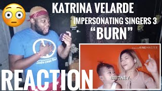‪KATRINA VELARDE - IMPERSONATING SINGERS 3 (BURN) | REACTION ‬