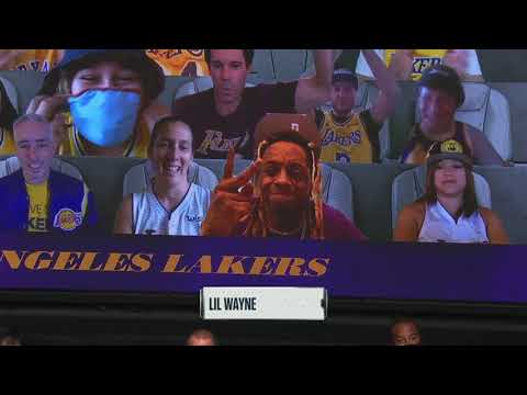 Lil Wayne Gives Virtual High-Five To A Lakers Fan On Big Board