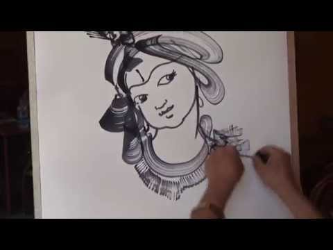 painting with thread lord krishna by bks varma